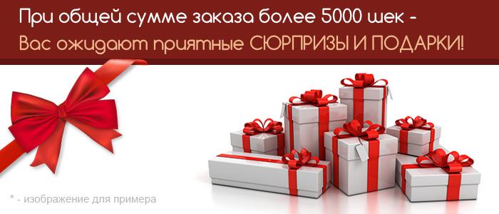 При общей сумме заказа более 5000 шек. Вас ожидают приятные сюрпризы и подарки!